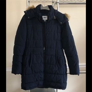 Old Navy Blue Puffer Coat M